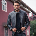 2017 New Men Retro Vintage Black Men Genuine Leather Motorcycle Jacket Real Thick Cowhie Slim Fit XXXL Biker Coat FREE SHIPPING