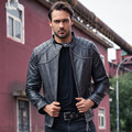 2017 Nuevos Hombres Retro Vintage Negro Genuino Cuero de La Motocicleta chaqueta Real Grueso Cowhie Slim Fit XXXL Abrigo Biker ENVÍO GRATIS