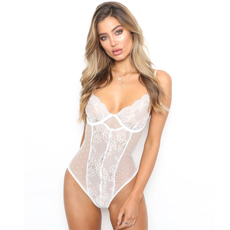 Women Sexy Lace Bodysuit Halter Deep-V Neck Bodycon Camis Backless Jumpsuit transparent Sexy lingerie Play suit
