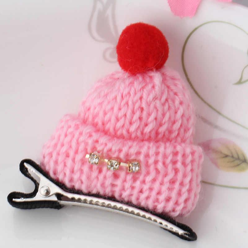 M MISM 2019 ใหม่เด็กอุปกรณ์เสริมผมทำด้วยมือ Hairgrip การ์ตูนน่ารักขนสัตว์หมวก Hairpins หญิงหมวกฤดูหนาว Barrette ผมคลิป