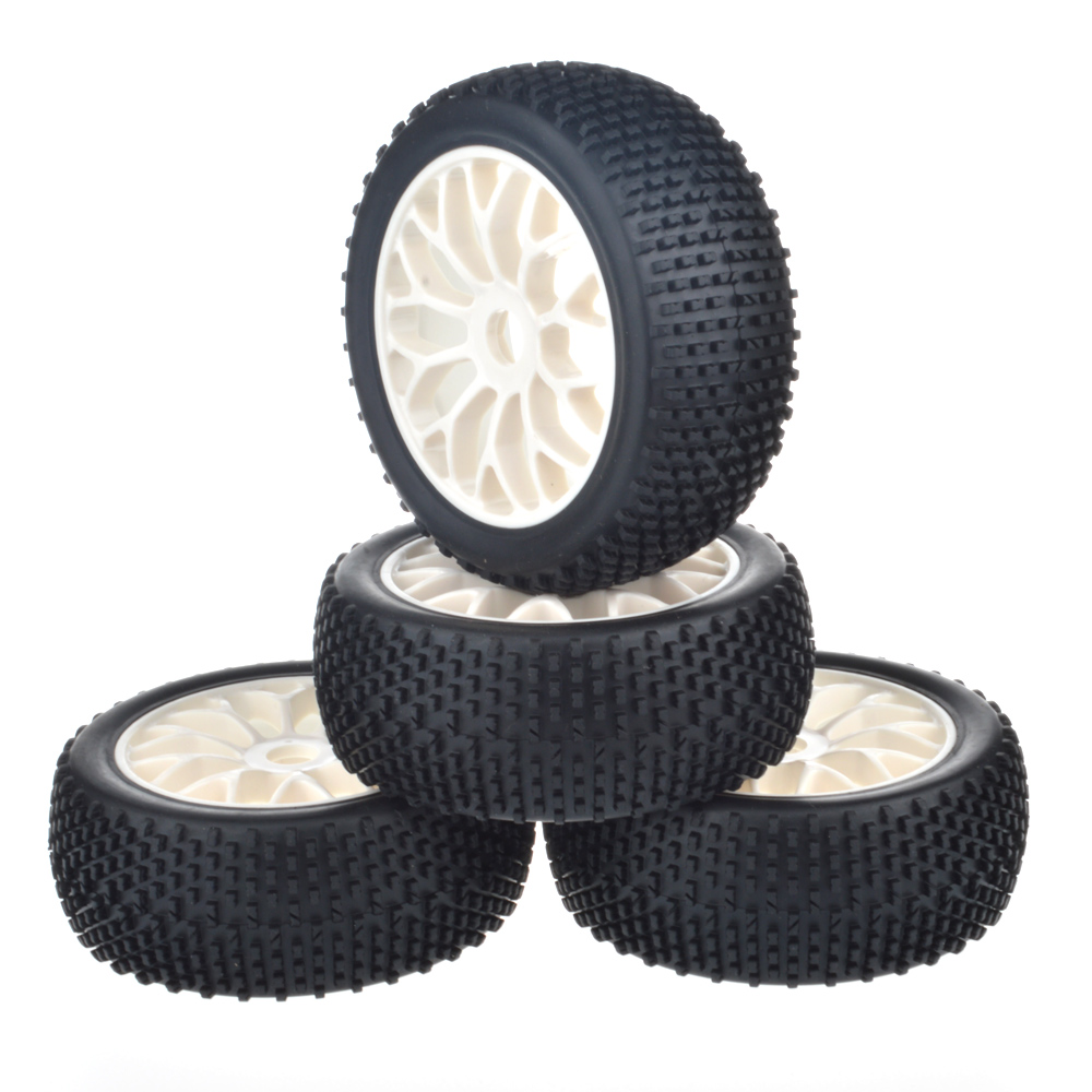 4pcs 1/8 Buggy black Rubber tires off road white wheels fit for 1/8 RC Car HSP Tamiya Kyosho RC Buggy car model 4pcs 1 9 rubber tires