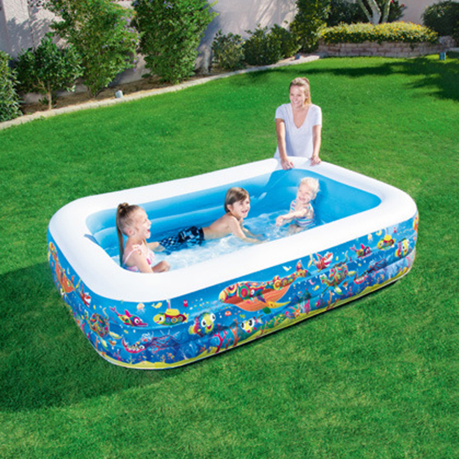 High Quality Large Size 150X110X48cm Plastic Inflatable Square Blue Underwater World Pattern Swimming Pool Ocean Ball Pool