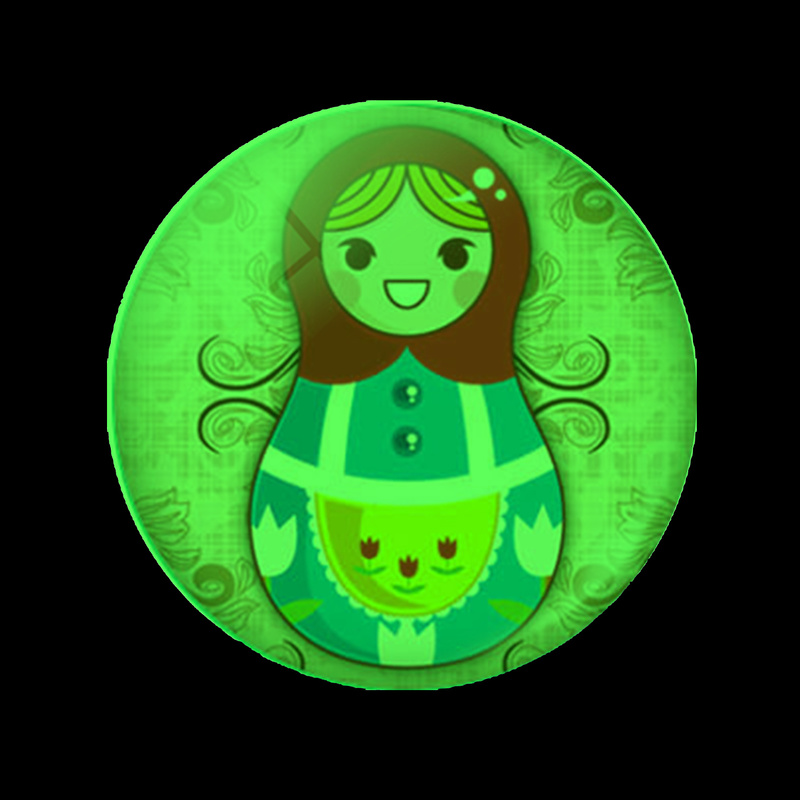 Cute Russian Sleeve Doll Luminous Fridge Sticker 30 MM Glass Magnets for Refrigerators for Whiteboard Magnetic Home Decoration in Fridge Magnets from Home Garden