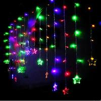 Happy New Year! 2x1M LED Stars Curtain Lights Garland Beautiful Decoration LED Christmas Lights For Wedding Holiday Cortina De