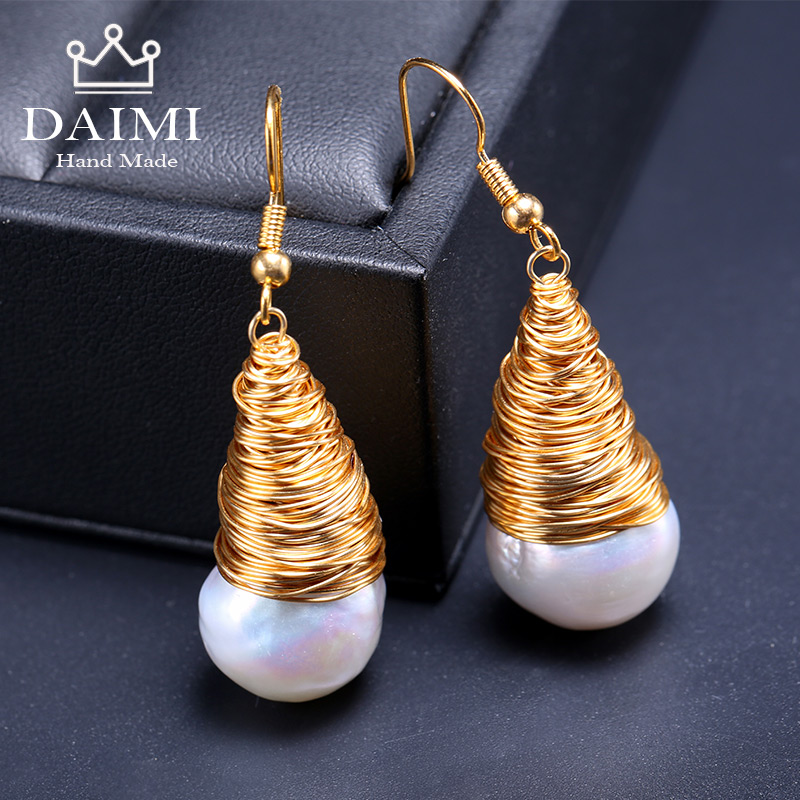 DAIMI Yellow Gold Huge Pearl Earrings Natural Baroque Pearl Unique Luxury Jewelry Designs Handmade Earrings Christmas