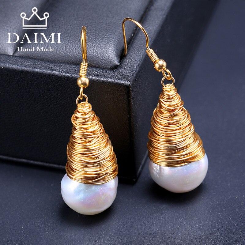 DAIMI Gelb Gold Riesige Perle Ohrringe Natürliche Barocke Perle Einzigartige Luxus Schmuck Designs Handgemachte Ohrringe Weihnachten Geschenk-in Ohrringe aus Schmuck und Accessoires bei  Gruppe 1