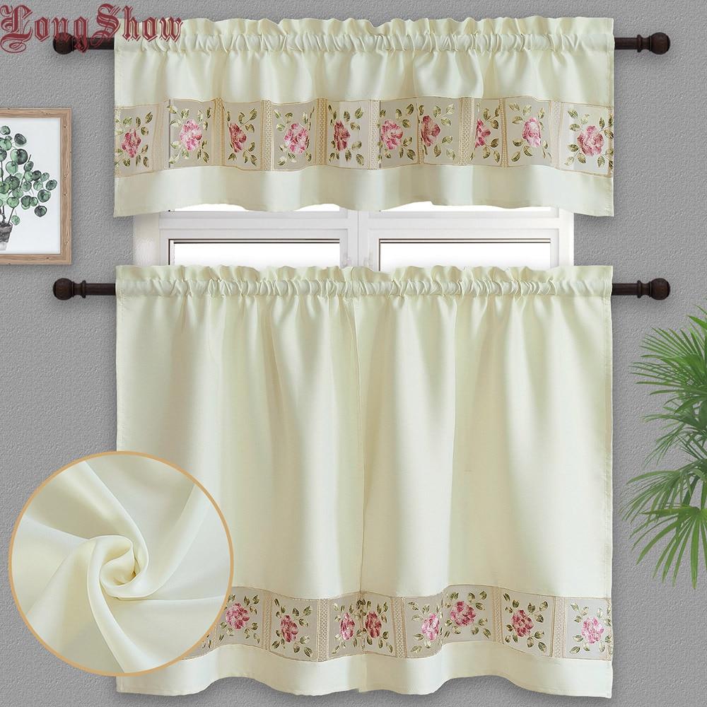 1 комплект, 3 шт., домашние декоративные шторы бежевого цвета с креативной вышивкой из органзы в стиле пэчворк, черные оконные шторы для кухни