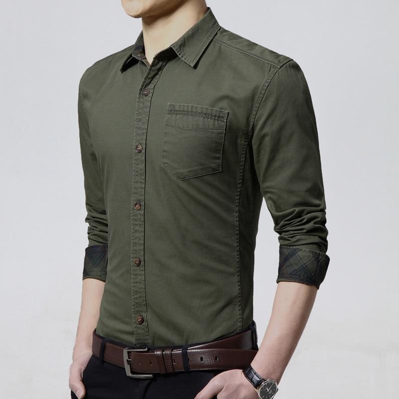 Cotton Dress Shirts Men Long Sleeve Slim Non-Iron Military Shirt Slim Male Shirt Slim Fit Popular Designs Shirt Man TS-210