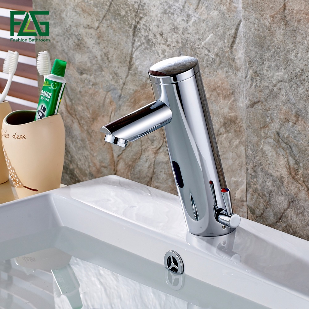 FLG Hot and Cold Bathroom Water Mixer Automatic Faucet Hand Touch ...