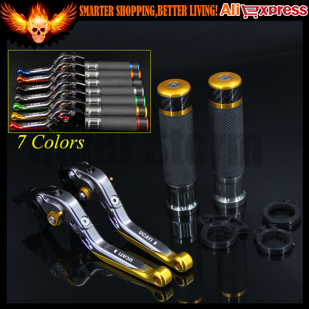 ФОТО 7 Colors Gold+Titanium CNC Motorcycle Brake Clutch Levers&Handlebar Hand Grips For Ducati 821 MONSTER/Dark/Stripe 2014 2015 2016