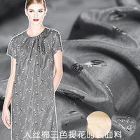 17 autumn new rayon cotton blended jacquard fashion fabric silver age silk cotton thick coat jacket fabric