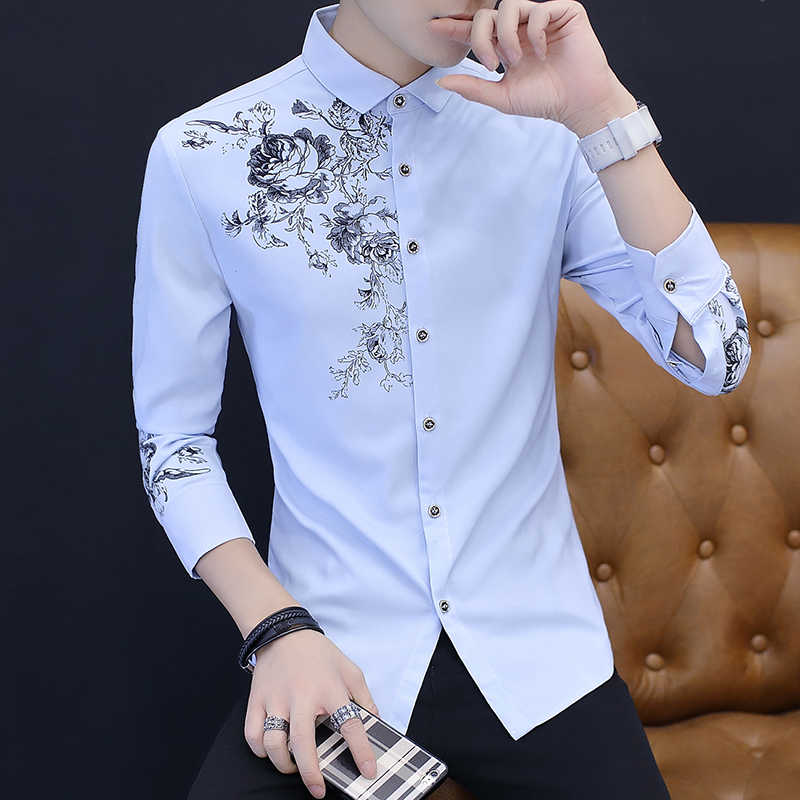 2020 Lente En Herfst Mannen Lange Mouw Mode Casual Rose Patroon Print Shirt Mannen Business Sociale Banket slim Shirt