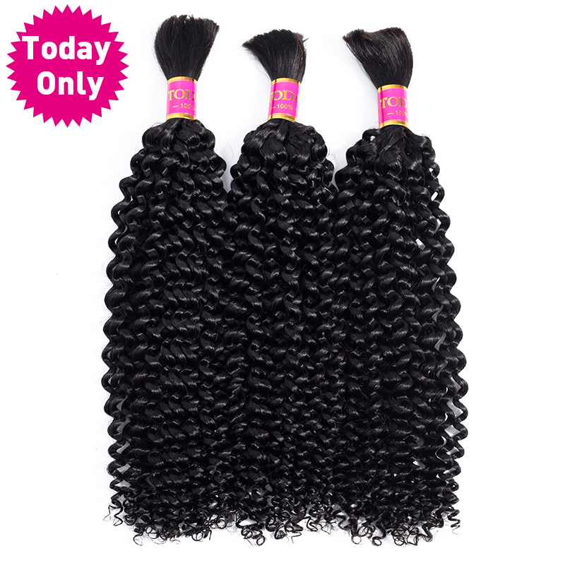 TODAY ONLY Mongolian Kinky Curly Hair Human Braiding Hair Bulk No Weft Curly Human Hair Bundles Braiding Hair Extensions Remy