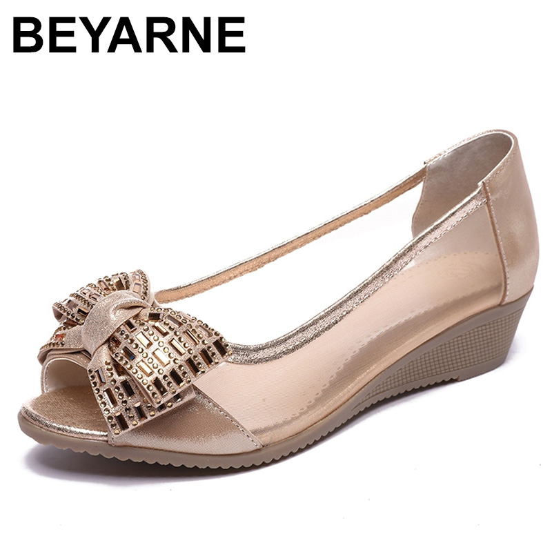 BEYARNESummer Shoes Woman Genuine Leather Sandals Open Toe Women Shoes Slip-on Wedges Platform Sandals Women Plus Size 35-43E282BEYARNESummer Shoes Woman Genuine Leather Sandals Open Toe Women Shoes Slip-on Wedges Platform Sandals Women Plus Size 35-43E282