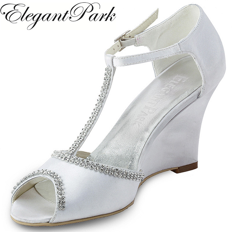 EP11086 Woman Shoes White Peep Toe Rhinestone T Strap High heel Satin Wedding Bridal Wedges Satin Prom Party Evening Heels