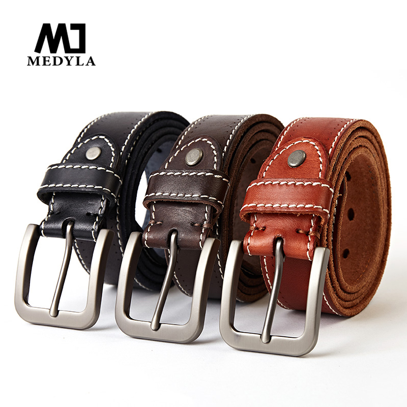 MEDYLA genuine leather for men high quality black belt with buckle for jeans cow leather casual