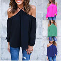 Blusas Femininas 2017 Sexy Off Shoulder Halter Neck Shirts Women Casual Long Sleeve Chiffon Blouses Summer Tops Plus Size S-4XL