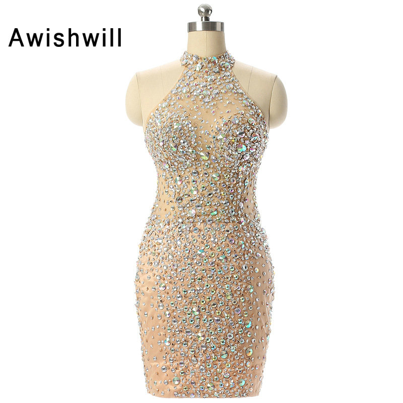 Women Pageant Gowns Short Mini Sexy   Cocktail     Dress   for Party Handmade Beadings Rhinestones Sleeveless Vestido de Festa Curto