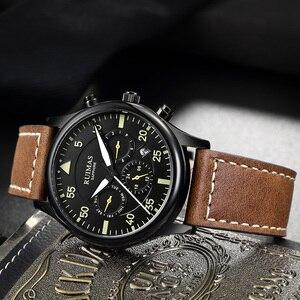 Image 2 - Ruimas Mannen Mode Lederen Band Horloge Automatische Business Mechanische Horloges Mannelijke Klok Horloges Erkek Kol Saati