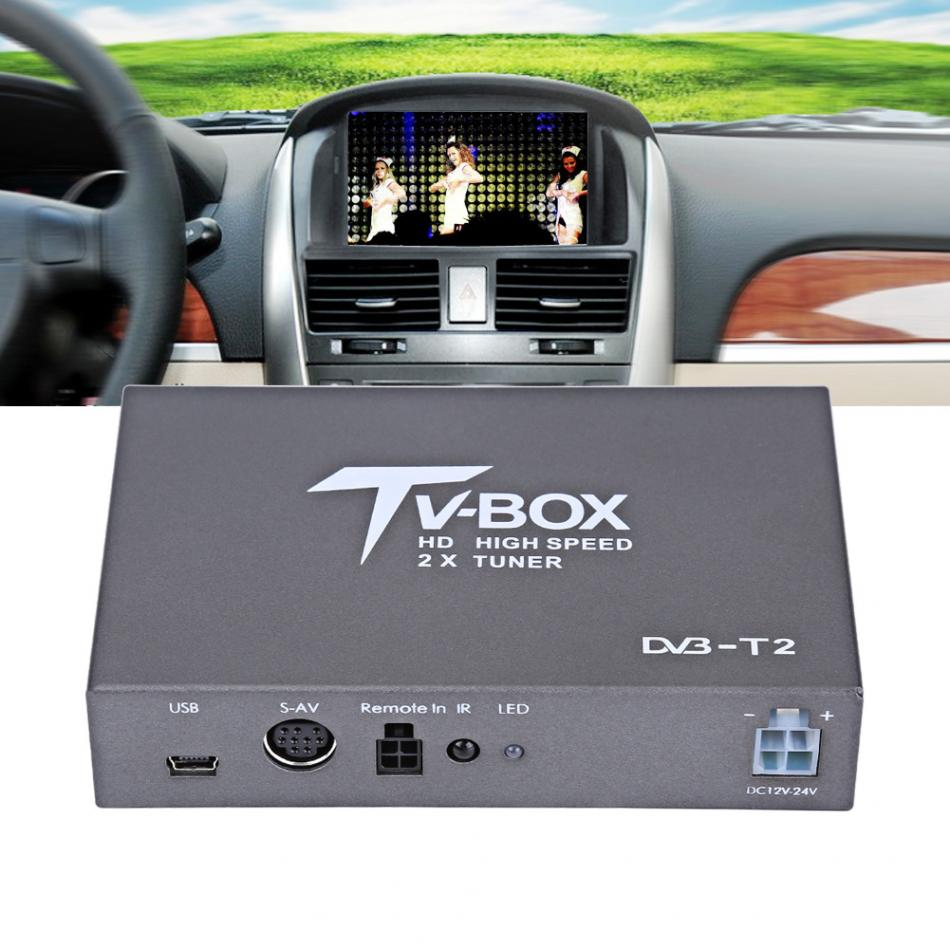 1080P HD DVB-T Car Mobile Digital TV Box Receiver  T2 TV Box Receiver with 2 Amplifier Antenna digital car TV tuner