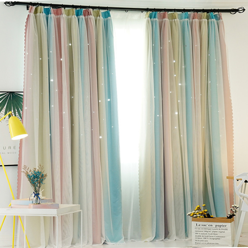 Gradient Color Hollow Stars Blackout Curtains For Living Room Bedroom Romantic Window Curtain with White Lace Voile Tulle