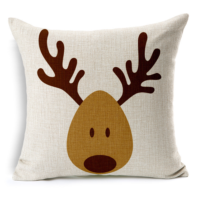 Christmas Reindeer Linen Cushion Cover Elk New Year