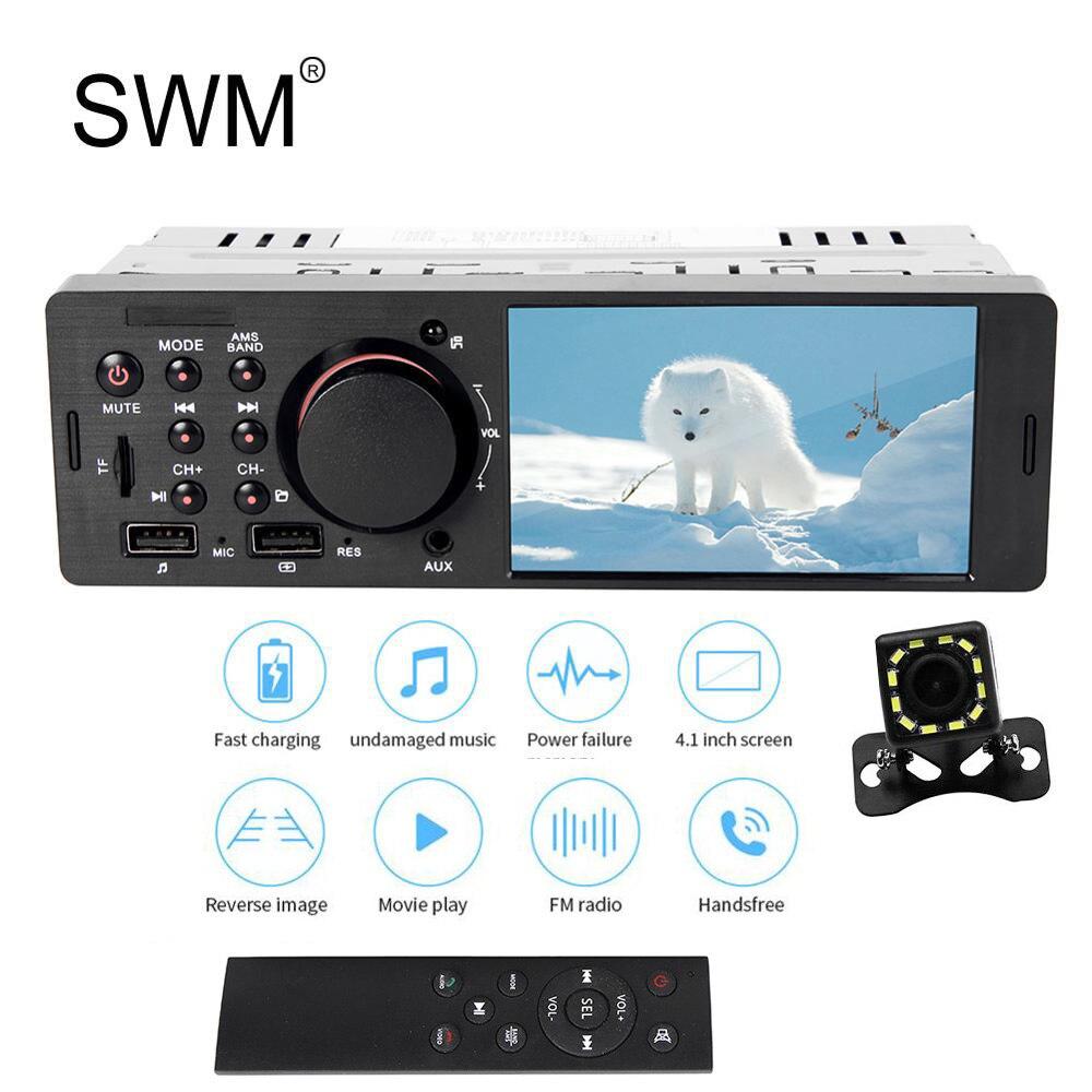 SWM 1 Din Autoradio stéréo lecteur Autoradio Cassette USB Bluetooth mains libres lecteur MP5 Image inverse AUX Autoradio 1din 7805