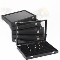 New Earring Holder Jewelry Packaging & Display Jewelry Box Case Glass Cover Bracelet Storage Necklace Ring Rack 35x25CM Z307
