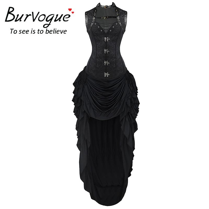 cb23f4b413 Burvogue Dobby Steampunk Corset Dress Waist Control Corsets and Adjustable Skirt  Set Women Bustier Gothic Overbust Waist Cincher