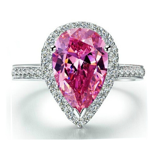 Victoria Wieck Dazzling Pear Cut Pink Simulated diamond 925 Sterling Silver Engagement Wedding Ring Sz 5-11 Free shipping Gift