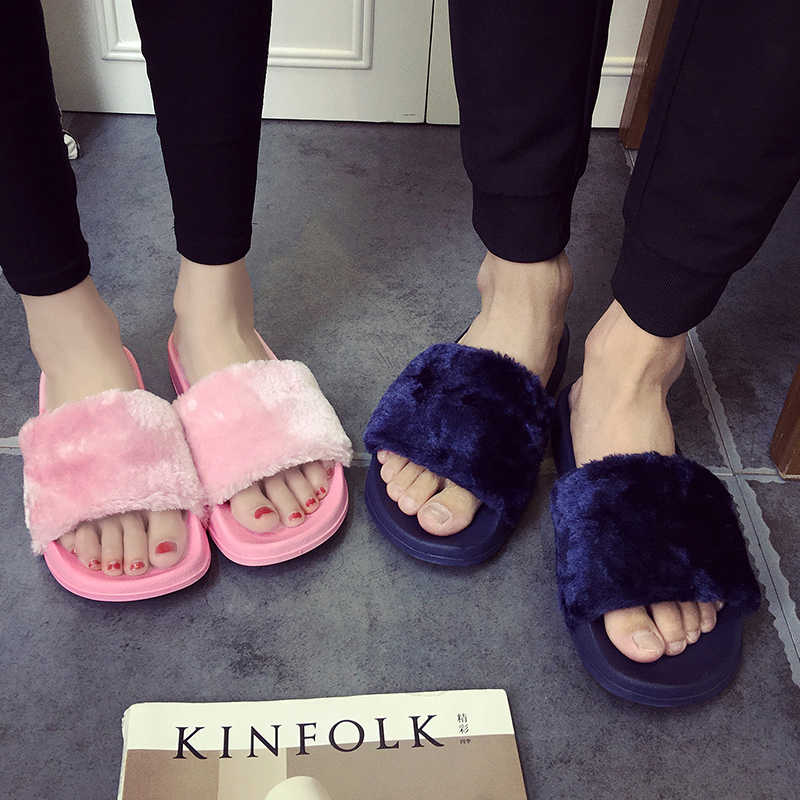 05a4e5190ec3 ... Plus size 36-45 fur sandals Unisex fur flipflops girls pink white  slippers men black ...