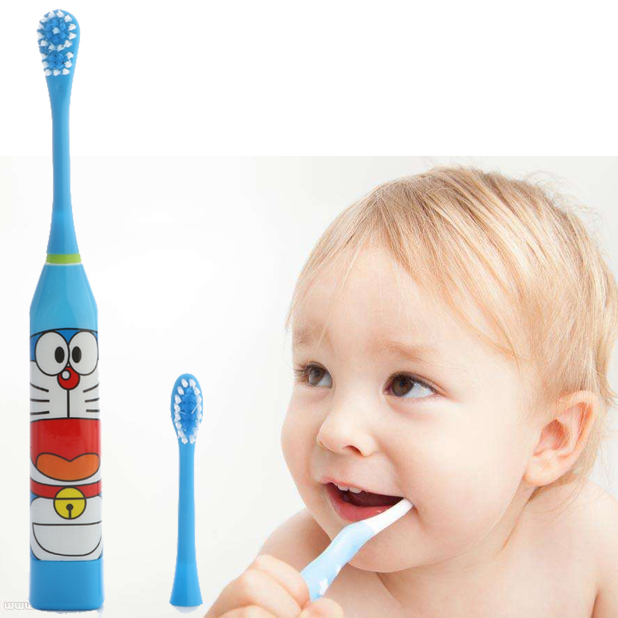 JIEFUXIN Cute Cartoon Pattern Electric Toothbrush Oral Hygiene Electric Massage Teeth Care Children Kids Toothbrush Cleanser ultra soft children kids cartoon toothbrush dental health massage 1 replaceable head outdoor travel silicone retractable folding