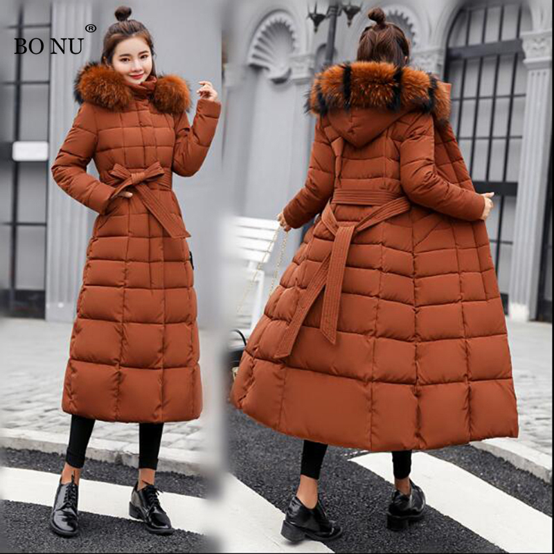 Для женщин ветровка пальто 2018 длинные зимние парки Для женщин меховой воротник куртка с капюшоном парки тонкий Для женщин зимняя куртка плю...