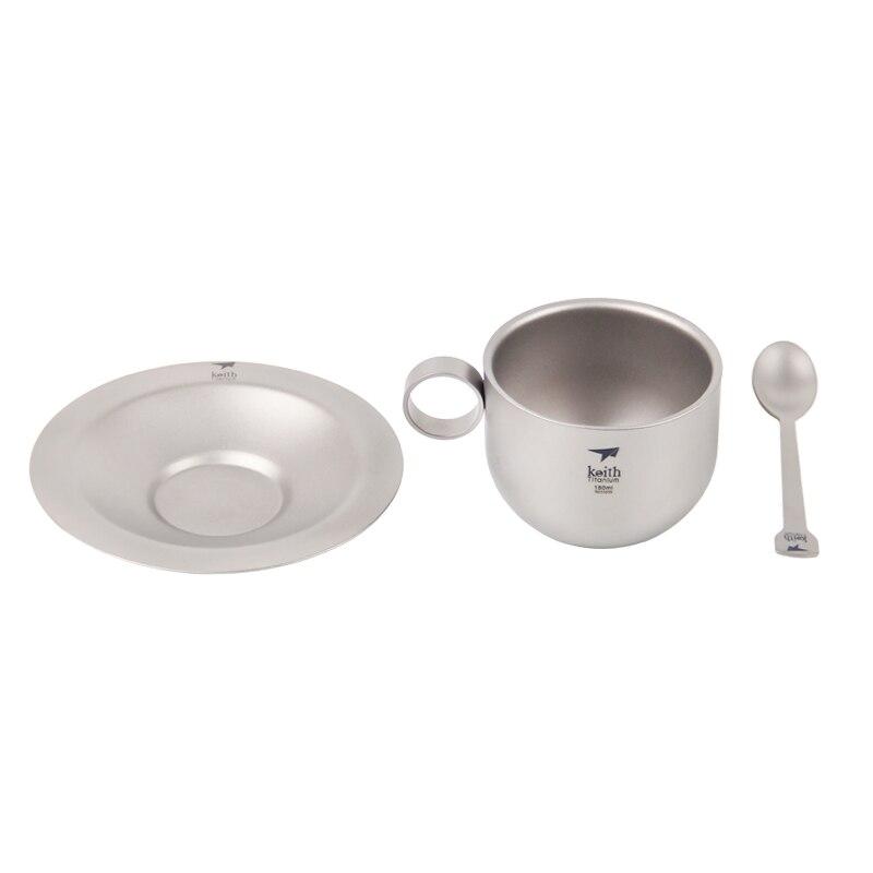 Keith 150 ml tasse à café tasse à café en titane avec plaque cuillère en titane Camping en plein air ultra-léger Double paroi tasse à thé Ti3601 - 3