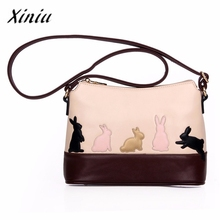 Xiniu Women Handbag Cartoon Cat Rabbit Embossing Shoulder Bag Cross Body Messenger Bolso #2708