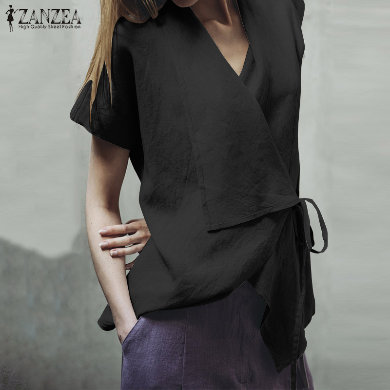 ZANZEA Women Tunic Tops Plus Size Female Lace Up   Blouse     Shirt   Short Sleeve Lapel Tops Ladies Summer Chic Blusas Cotton   Shirts