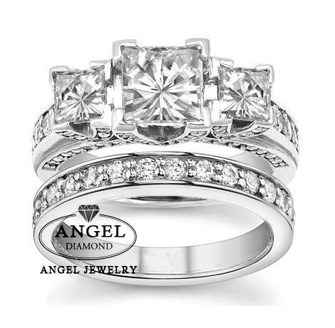 Center 2ct Princess Cut NOCM Lab Grown Diamond Ring 3-Stone Square  Brilliant Wedding Set Halo 18K White Gold Engagement Set f7b675c5d