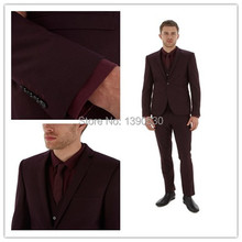 HOT SELLING 100% wool burgundy notch lapel two buttons three piece suit(jacket+pants+vest)!!
