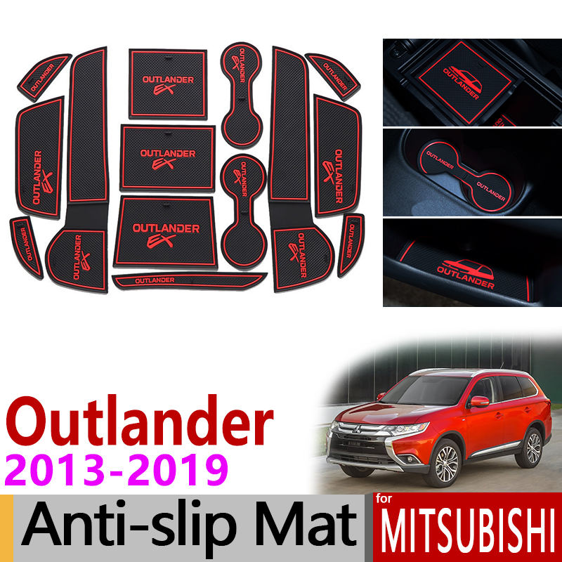 Anti-Slip Rubber Gate Slot Cup Mat For Mitsubishi Outlander 2013 2014 2015 2016 2017 2018 2019 3rd Gen Accessories Car Stickers