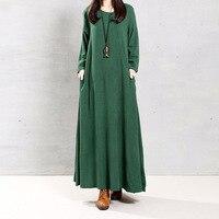 4XL 5XL Vestido Mulheres Outono Luva Cheia Sólida Bolso Do Vintage Vestidos Longos Maxi Vestidos Casuais Túnica Solta Plus Size