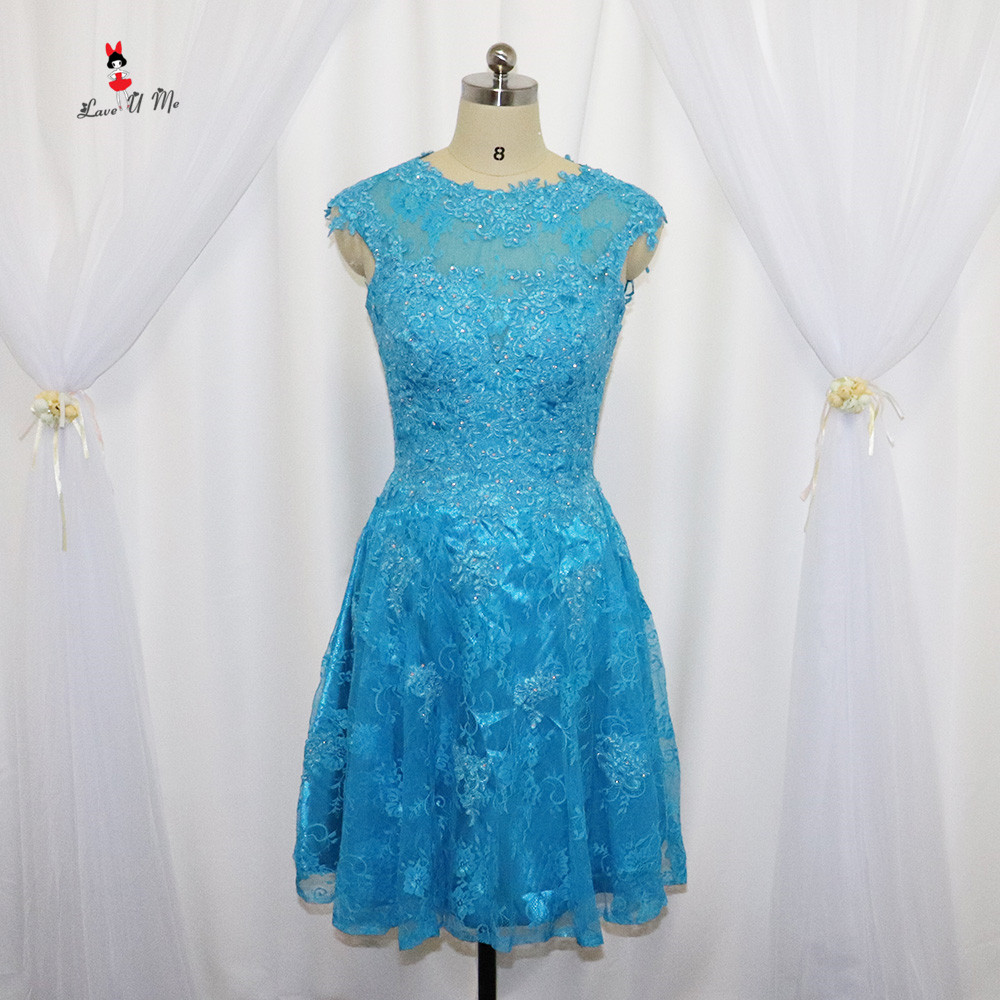 Vintage Cheap Blue Prom Dresses 2017 Short Lace Cocktail Party Dress ...