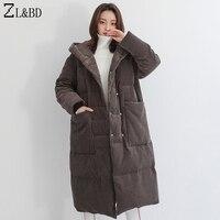ZL и BD длинный пуховик chaqueta pluma mujer 2018 зима Для женщин с капюшоном oversize куртка пуховик и пальто ZA953