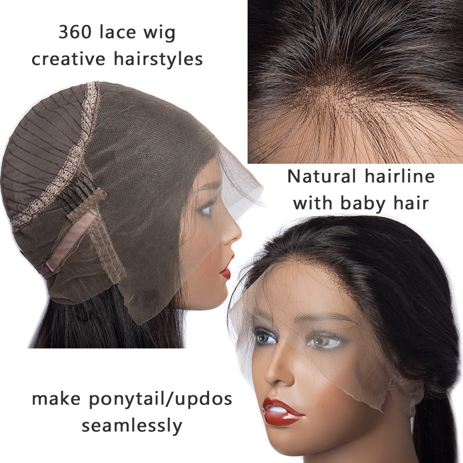 Image 3 - 360 Lace Frontal Wig Peruvian Straight Hair Pre Plucked With Baby Hair Remy Lace Front Human Hair Wigs 150 Density Sunlight Hair-in Human Hair Lace Wigs from Hair Extensions & Wigs