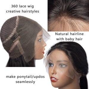 Image 5 - Peluca Frontal de encaje 360 cabello liso peruano prearrancado con cabello de bebé pelucas de cabello humano con encaje Frontal Remy 150 densidad luz cabello