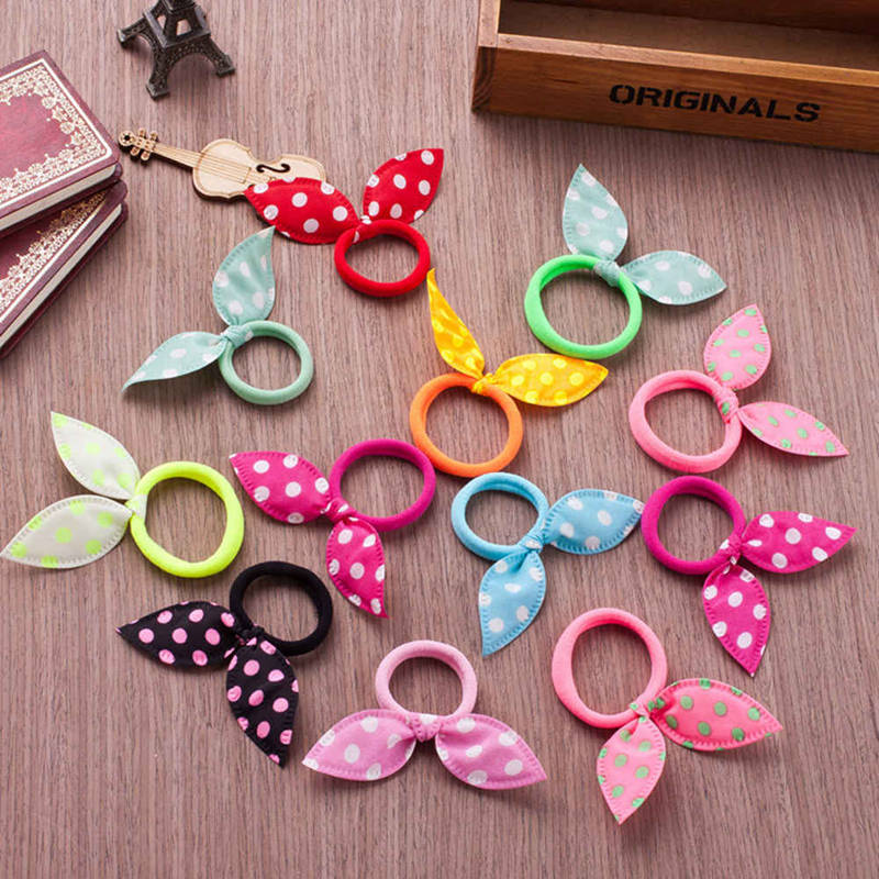 10Pcs Girls Hair Accessories Ribbon Dot Headband Hair Ornaments Elastic Ring Rabbit Ears Hair Bands Rubber Rope Hair Circle