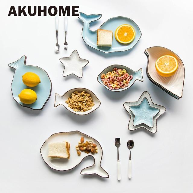 Керамические океана стиль тарелка КИТ рыбное блюдо Shell Морская звезда Труба shell миску сине-белые фарфоровая посуда