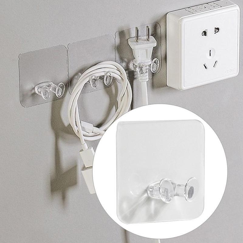 5 PCS No Trace Hook Powerful Free Punching Magic Paste Power Plug Socket Hook Kitchen Stealth Wall Sticker Holder