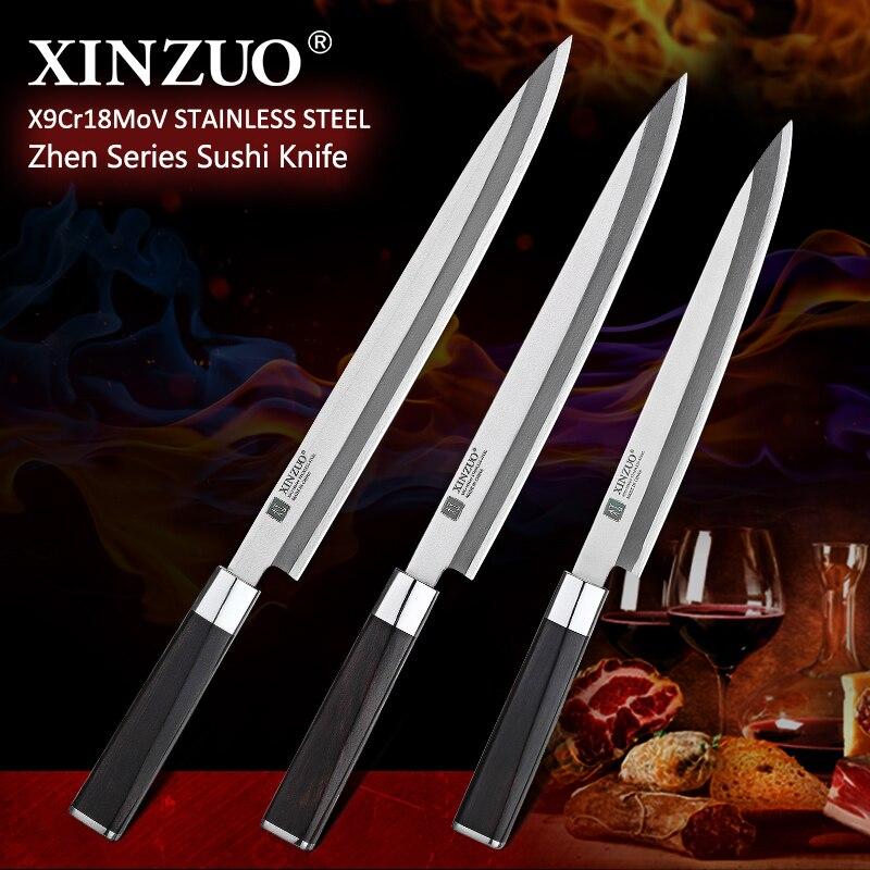 XINZUO 240/270/300mm couteau à Sushi X9Cr18MoV acier inoxydable Pro Yanagiba filet de poisson cru Cuisine couteaux de Cuisine avec poignée en ébène