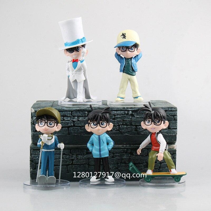 Strict 5 Pcs/set Detective Conan Kaitou Kiddo Jimmy Kudo Conan Edogawa Skateboard Ver Pvc Action Figure Collectible Model Toy Opp P640 Action & Toy Figures
