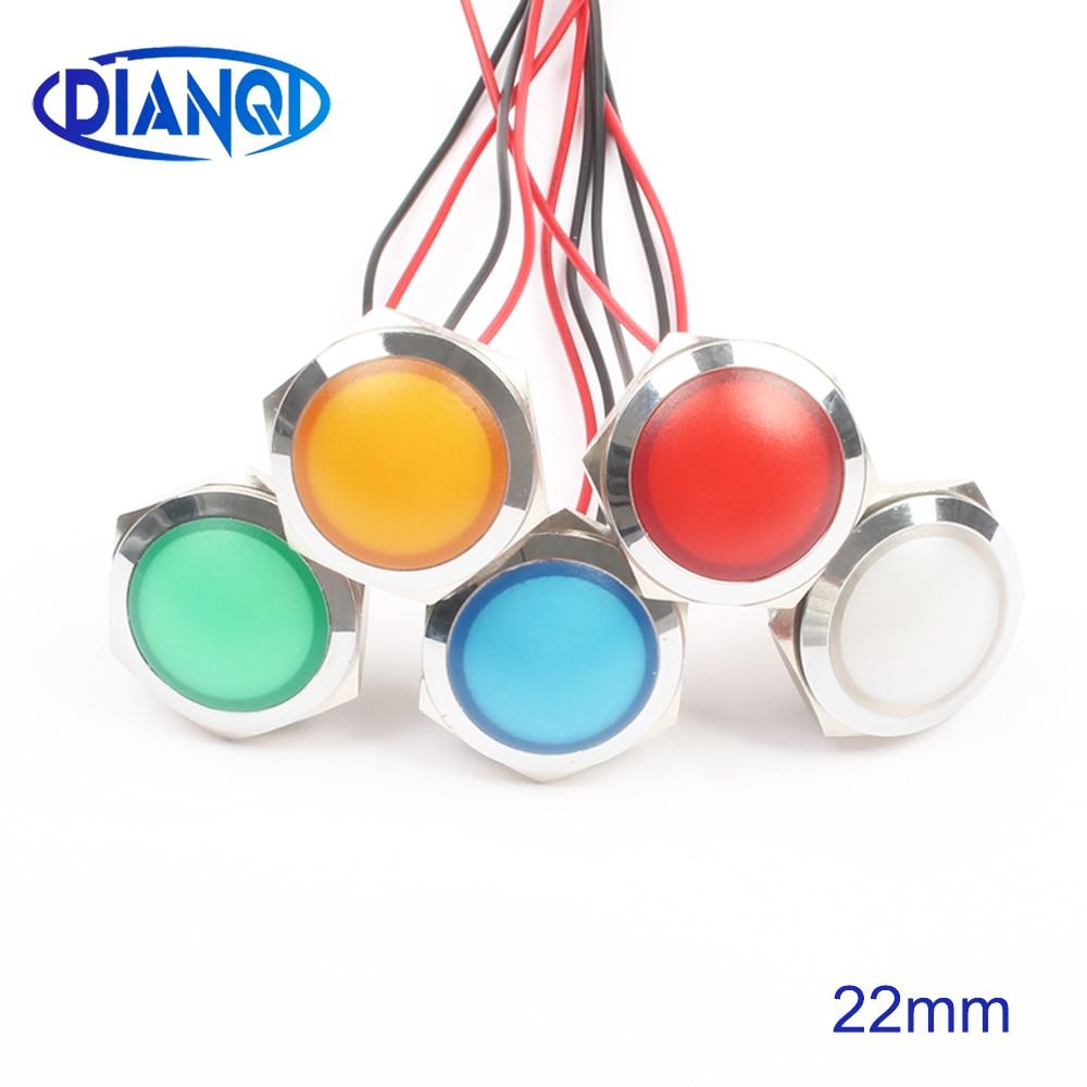 LED Metal Indicator Light 22mm Spherical Round Signal Lamp 3V 6V 12V 24V 220v Red Green White Blue Yellow 22ZSD.QX.X